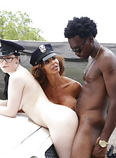 Big-dicked black dude gets quickly busted and says fuck tha police